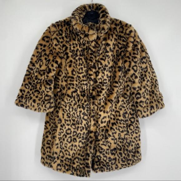 Forever 21 Faux Fur Leopard Button Teddy Jacket